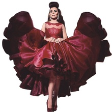 robe de soiree high low formal evening gowns short prom dresses red prom dress burgundy evening dress ballgown party dress red(China (Mainland))