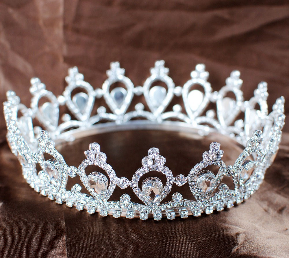 Luxurious Queen Princess Crowns Full Circle Round Tiaras Rhinestones Crystal Wedding Bridal Pageant Prom Party Headbands(China (Mainland))