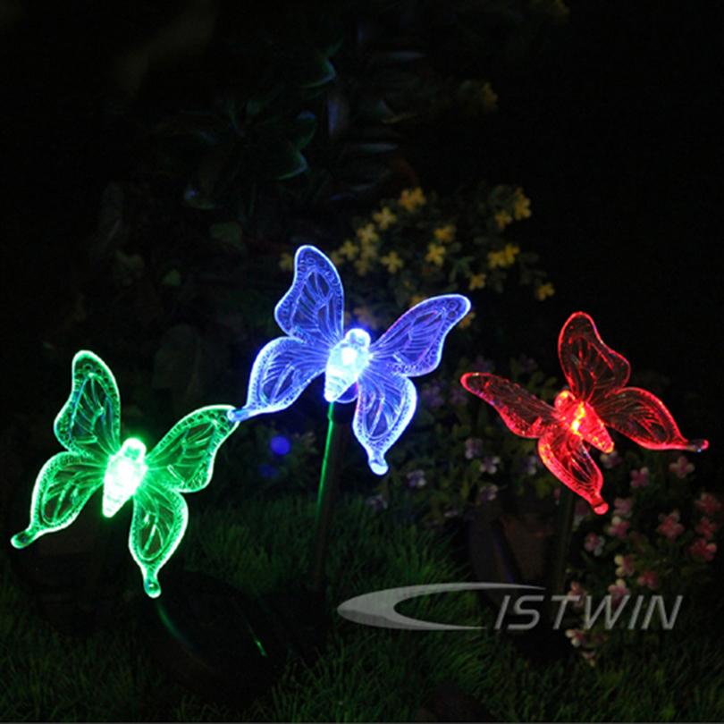 Solar Lamps Color-Changing Butterfly Pattern Novelty motion Sensor Garden Stake Light Sun Lighting Nightlight Solar Lamps(China (Mainland))