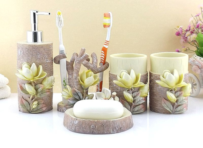 Beau Resin Bathroom Accessories Set 5 Pieces Set 3D Magnolia Bath Room Set  Bathroom Decoration Gift Set For Housewarming Wedding
