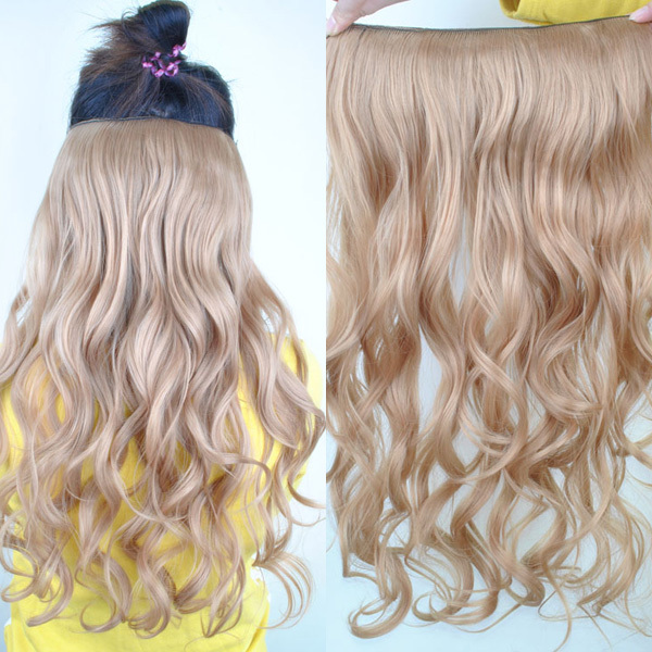 Womens Long Wavy Curly Silky Synthetic 5 Clips One Piece Clip Hair Extensions Black Brown Blonde Color Wave Hairpiece