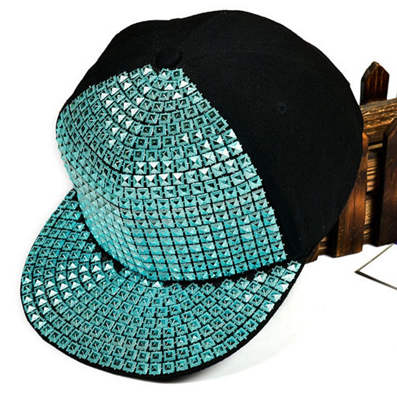 Newly Women Men Baseball Caps Canvas Hip Hop Punk Hat Shiny Sequins Flat Peak Hats Casual Snapback Cap Touca Feminina(China (Mainland))
