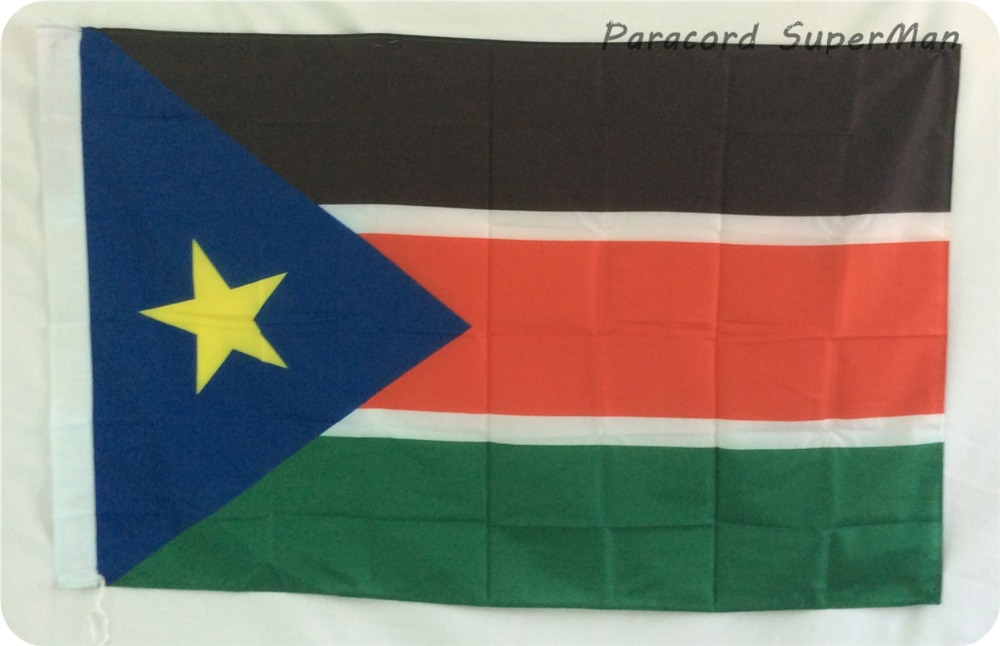 Free shipping 3ft x 5ft Hanging Flag Polyester South Sudan National Flag Banner Outdoor Indoor 150x90cm Big Flag for Celebration(China (Mainland))