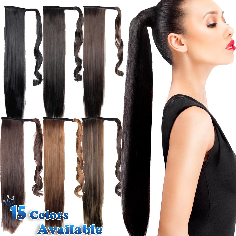 24inch Black Synthetic Long Straight Clip In Ribbon Ponytail Hair Extension hairpiece my little pony Tail Hair Pieces 15 Colors(China (Mainland))