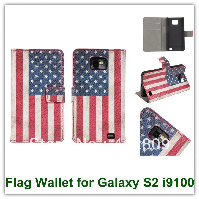 Retro USA UK National Flag Wallet Case Smart Covers for Samsung Galaxy SII Leather Pouch for Galaxy S2 i9100 Free Shipping(China (Mainland))
