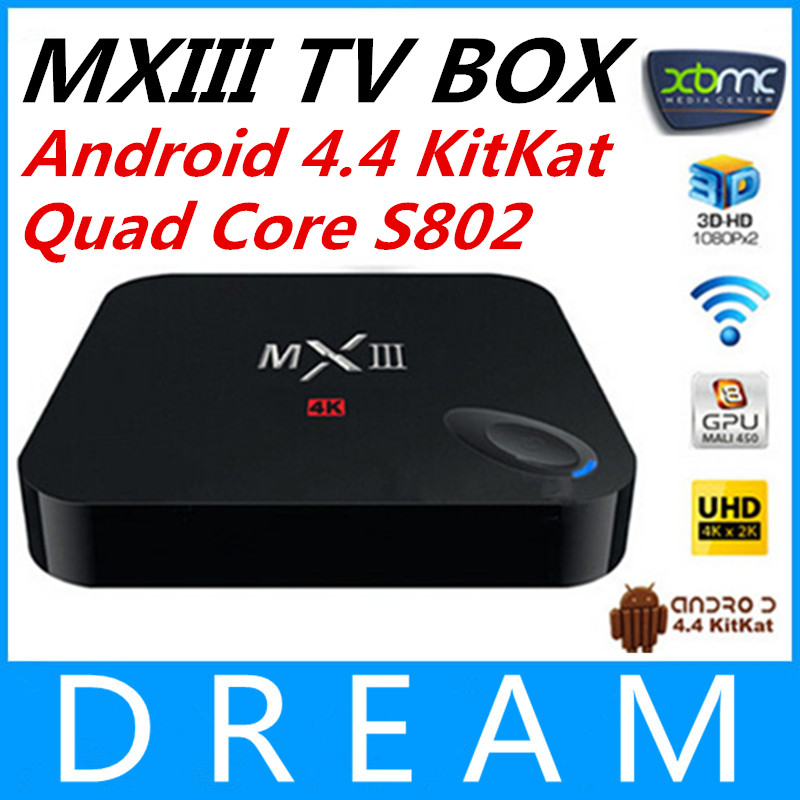 Телеприставка OEM 10 Mxiii XBMC Android TV Box Amlogic S802 2 /8 Mali450 GPU 4K HDMI Bluetooth 4.4 KitKat /mx iii mxiii 4k s802 2g ram 8g rom tv box