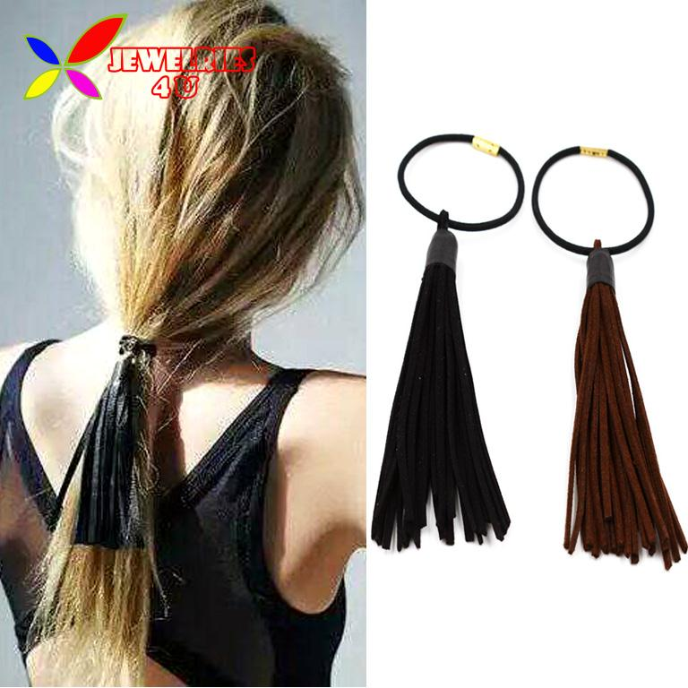 2016 New Coming Fashion Vintage Long Leather Tassel Hair Bands For Women Elastic Hair Tie Jewelry elasticos de cabelo(China (Mainland))