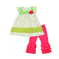 New Summer Country Style Lovely Baby Girls Clothing Print Top With Floral Rose Ruffle Short Infant