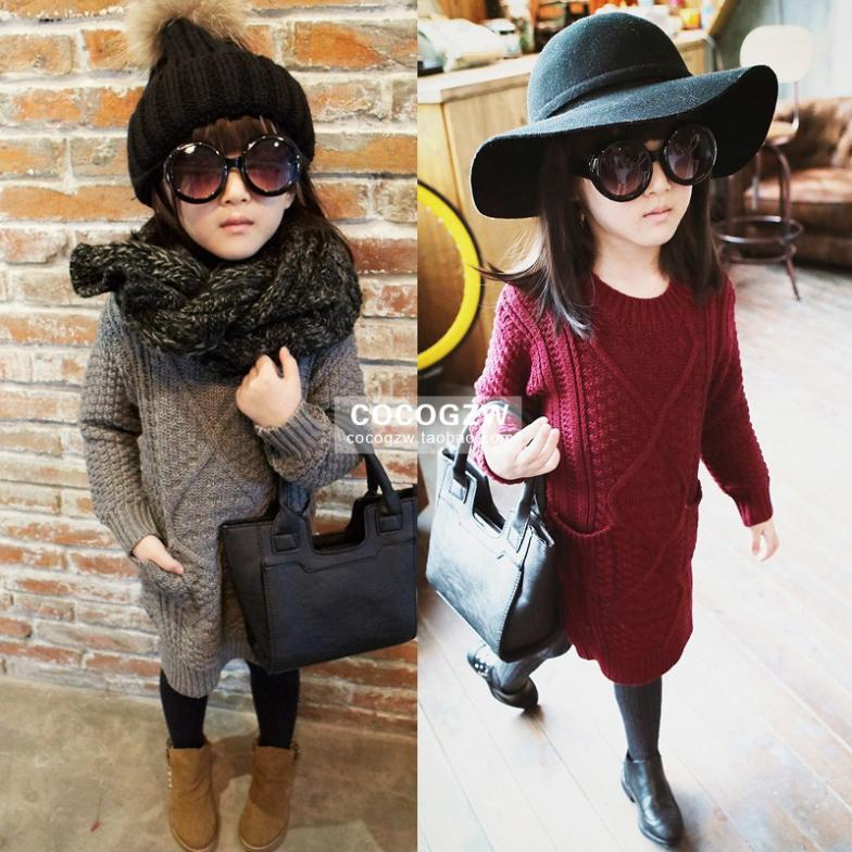 Baby Girls Sweater Dress Autumn Winter New Kids Knitwear Cotton Fashion Designer Brand Green girls sweater dress Clothes(China (Mainland))