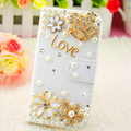 2016 New Luxury Golden crown Pearl diamond flower High quality PU leather Case for Huawei P9