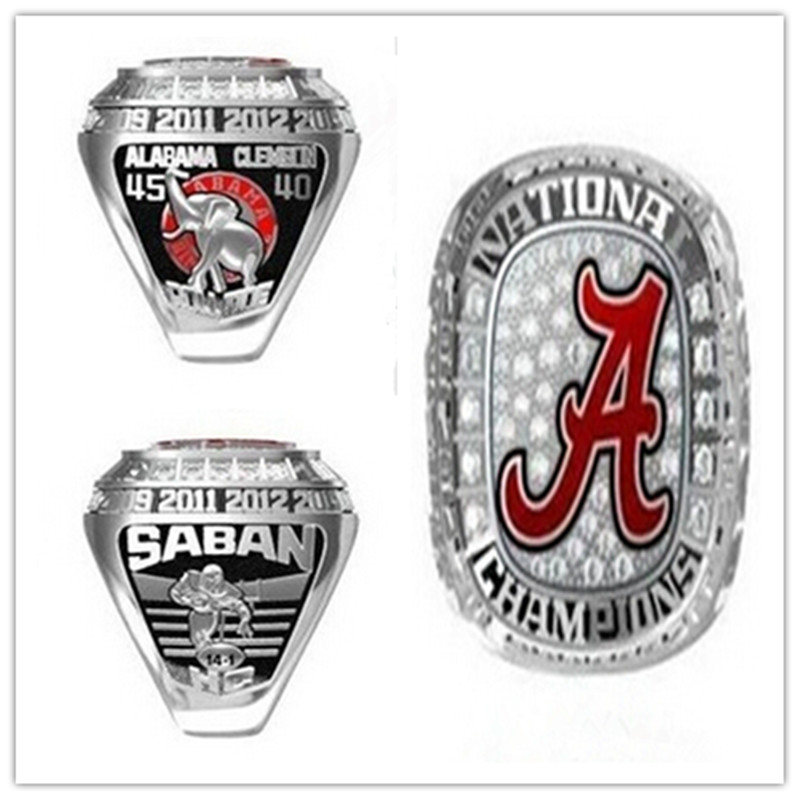 2016 New Arrival NCAA 2015 Alabama Crimson Tide Football National Championship Ring Replica Size 6 to 15 Drop Shipping(China (Mainland))