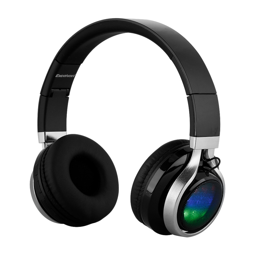 EXCELVAN Folding Wireless Bluetooth Headphones LED Stereo Classic Adjustable Headsets Great Heavy Bass Headphone for Phones(China (Mainland))