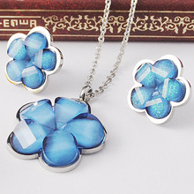 Fashion Women Acrylic Flower Pendant Necklace and Earrings Sets Red/White/Purple/Blue Jewelry Set High Quality Free Shipping(China (Mainland))