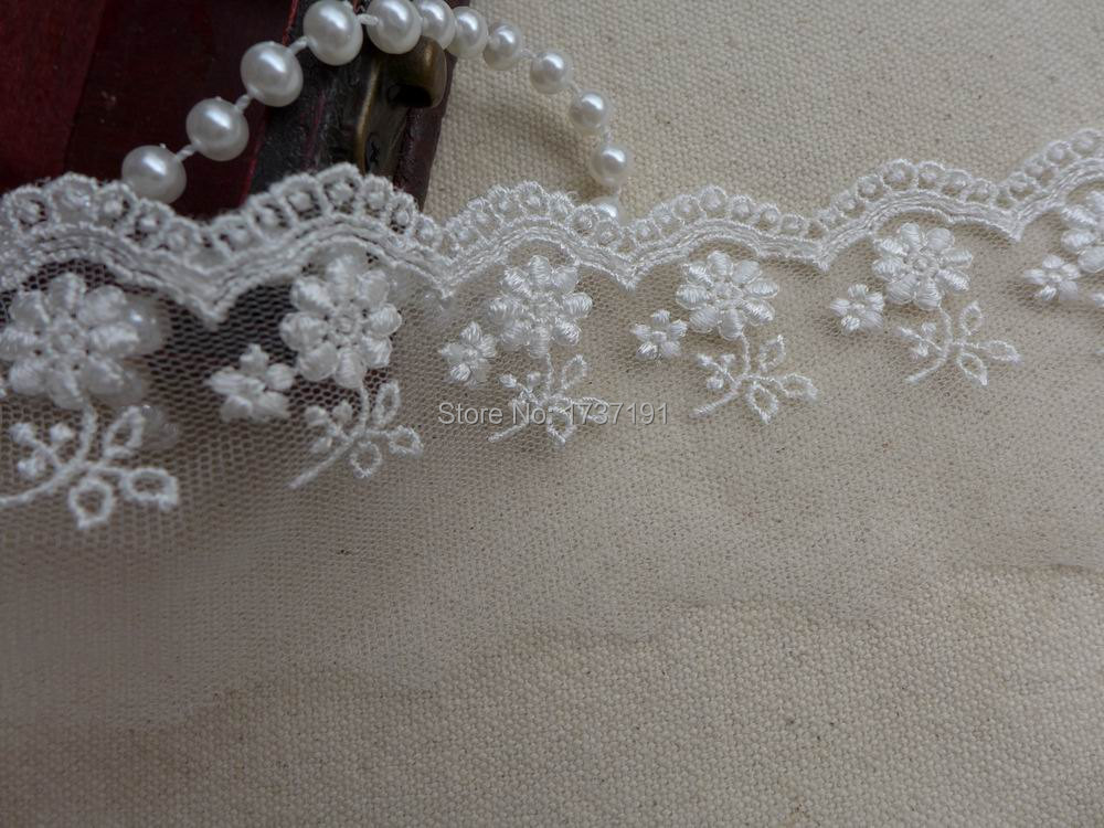 2 Yds Rayon Embroidered Lace Trim in Ivory for Bridal, Doll Dresses, Clutch purse bag, Altered couture(China (Mainland))