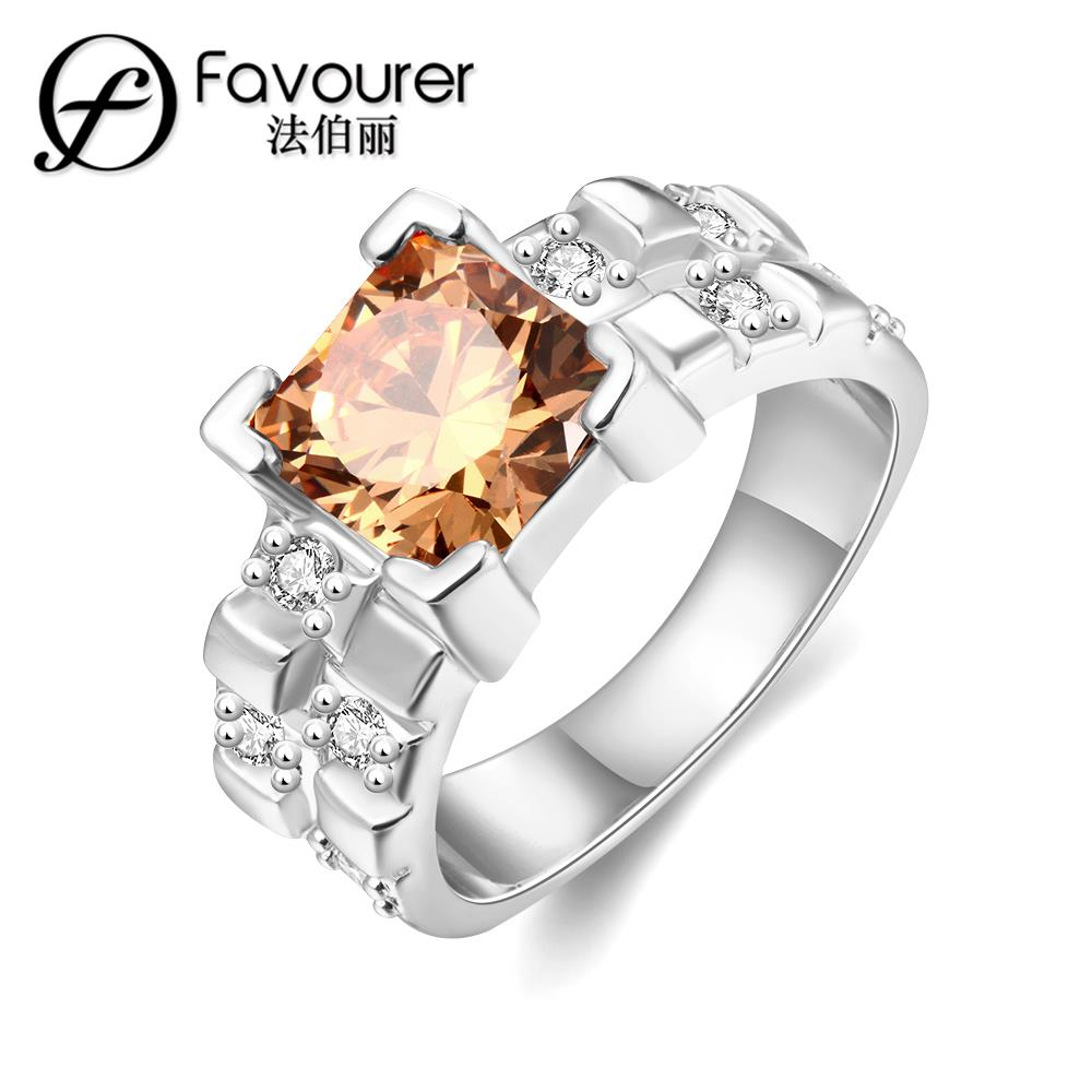 Stainless steel inlaid crystal ring 18K white/rose gold plated rings for women Wedding Feast Jewellery Romantic New Products(China (Mainland))