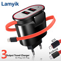 EU US Plug Dual Port USB Travel Charger Portable Wall Adapter 5V 3 4A for iPhone