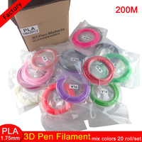 20rolls/lot 10M /roll 3D Printing Pen Material 1.75mm 3D Pen PLA Filaments 20 mix Colour 10 meters Each Color Free Shipping