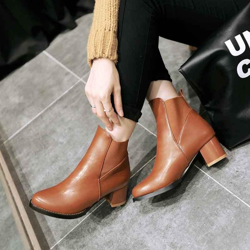 ซื้อ พลัสSize34-43 2014ใหม่เซ็กซี่ของผู้หญิงข้อเท้าบู๊ทส้นสูงหนาปั๊มสั้นรองเท้า3สีฤดูหนาวหญิงขี่รองเท้าSBT1761