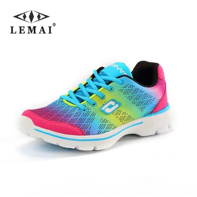 LEMAI 2016 Сверхлегкий энергичные женщины повседневная обувь, зашнуровать леди обувь ...