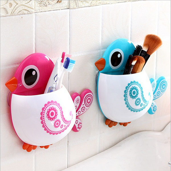 1pc Popular Funny Hotsale Lovely Cute Cartoon Rose Red/Green/Blue/Coffee Bird Suction Tooth Brush Holder Free Shipping(China (Mainland))