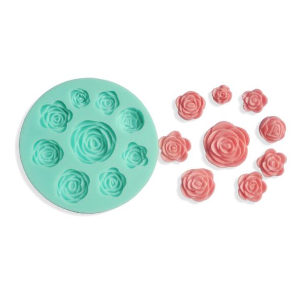 9pcs Rose Shape Silicone Embossed Cake Mold 3D Food Grade Silicone Mould Silicone bakeware mold(China (Mainland))