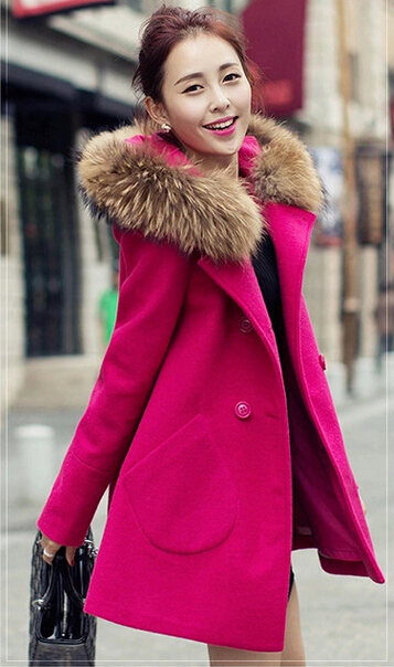 2016 autumn and winter woolen maternity clothing plus size maternity outerwear loose maternity fur collar overcoat outerwear red(China (Mainland))