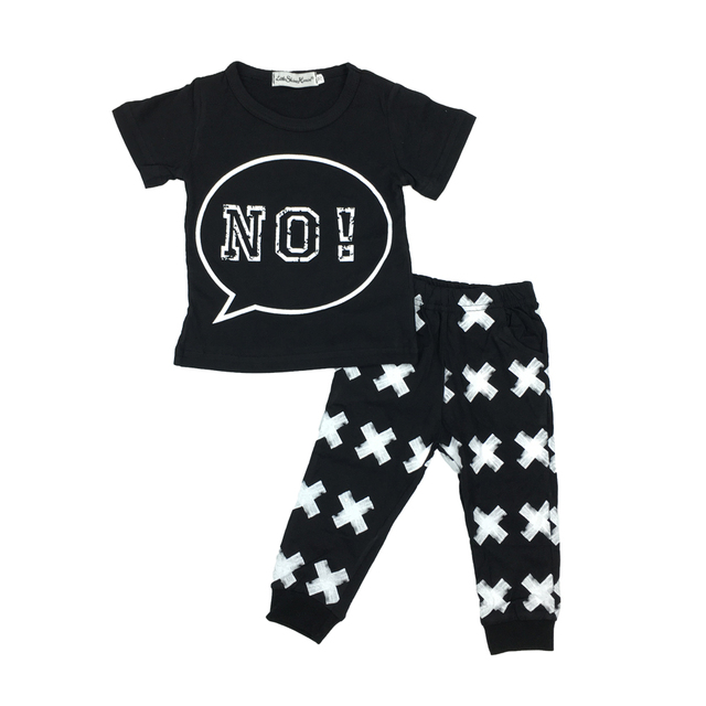 Summer baby boy/girl  cotton newborn t-shirt + pants black  2pcs