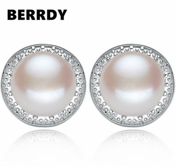 Freshwater Pearl Stud Earrings Exquisite Fashion Pearl Jewelry Cheap Nice Gift 4 Color 9-10mm Big Pearl(China (Mainland))