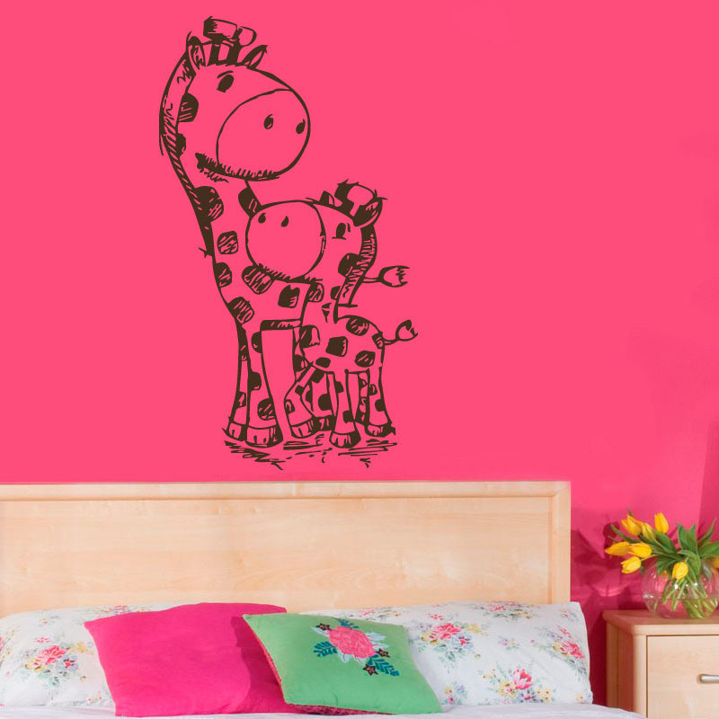 Giraffes Mom And Baby Wall Stickers Kids Bedroom Home Decor Animals Removable Decorative Giraffe Mother And Kid Wall Decals