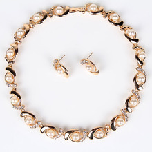 PN12306 Classic Gold Necklace Set  Simulated Pearl Bridal Jewelry Sets Clear Crystal Party Birthday Gifts Free Shipping(China (Mainland))