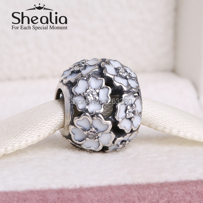 2015 Spring collection 925 sterling silver primrose charms with zircon & enamel fits famous brand diy bracelets SH0610(China (Mainland))