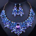 2016 New Luxury Wedding jewelry sets Full rhinestones Imitation Sapphire Necklace earring for women party dress