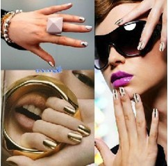 2 pack 48 pcs metal nail art beauty sticke decor gold on decorative stickers forms decoration for nails set free shipping(China (Mainland))