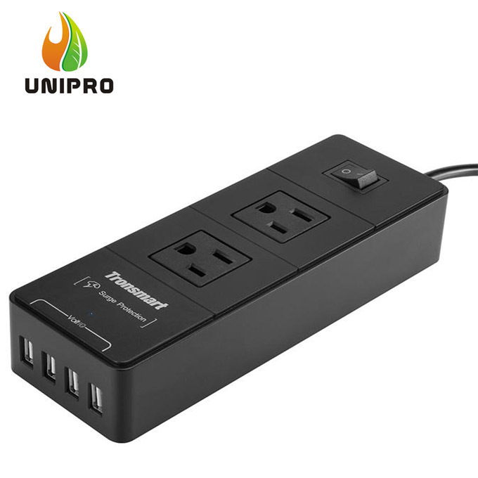 In Store! Tronsmart 2 Outlets Travel Surge Protector 4 USB 15000A Charger Power Strip VoltIQ For iPhone/Samsung/MP3/Camera(China (Mainland))