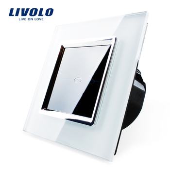 Free Shipping, Livolo EU Standard Touch Switch, VL-C701-SR1,White Crystal Glass Panel,  Wall Light Touch Switch+LED Indicator