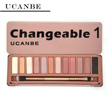 UCANBE Brand NAKE Eye shadow Makeup New Changeble 1 palette 12 Colors eyeshadow palettes with brush makeup set cosmetics(China (Mainland))