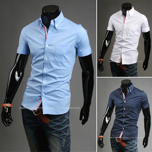 Camisas slim fit masculina camisa social masculina for Mens short sleve dress shirts