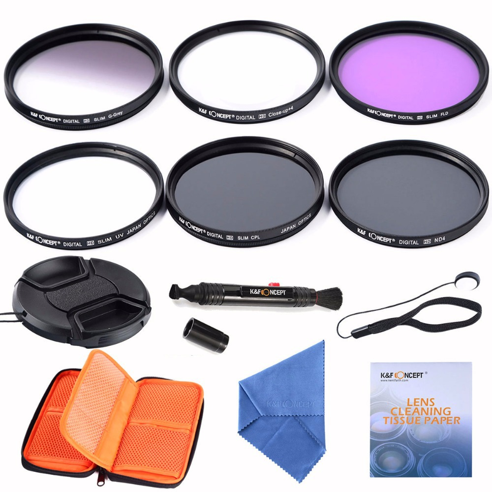 58mm Slim UV CPL FLD ND4 Filter lens kits+slim Graduated Grey Filter + Close up +4+Cleaning kits+pouch bag For Canon DSLR Camera(China (Mainland))