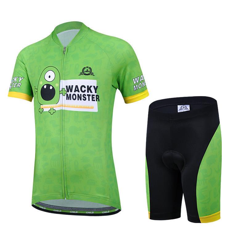 2015 Cheji kids summer cycling jersey & pant kits special green eye WACKY MONNSTR bicycle clothing outdoor riding equipment(China (Mainland))
