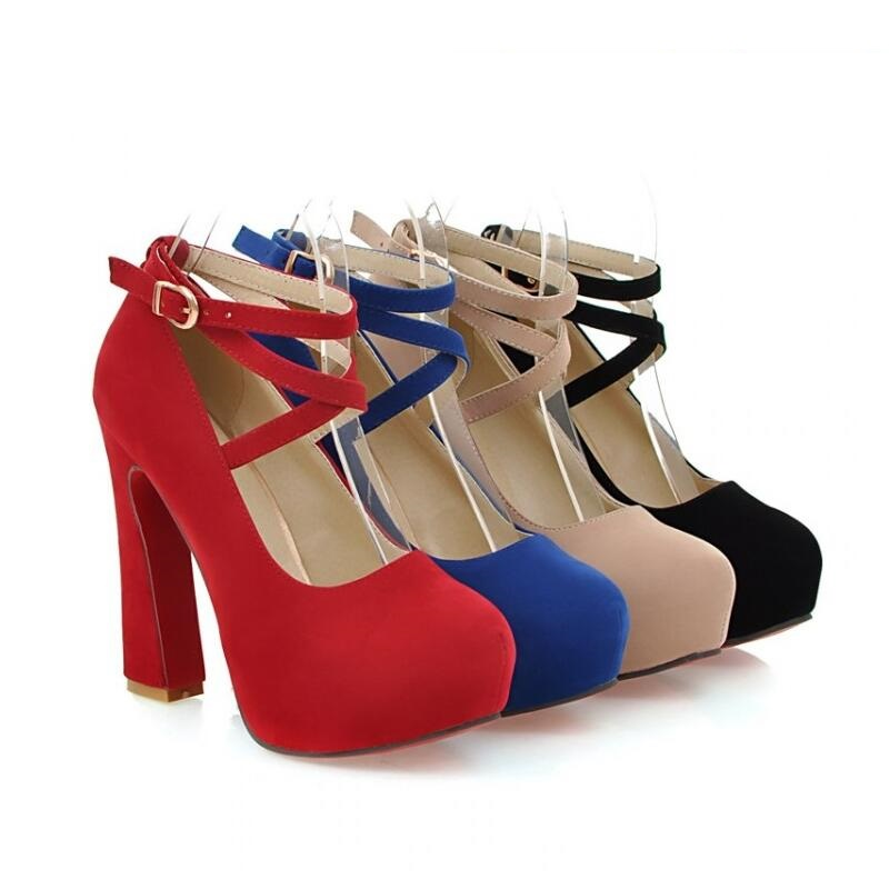 Button belt thick heel single shoes spring autumn black velvet red wedding platform women's high-heeled - DX123 store