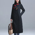 Fall New Long Sleeve Stand Neck Cotton Linen Women Jacquard Cheongsam Dress Plus Size Vintage Robe