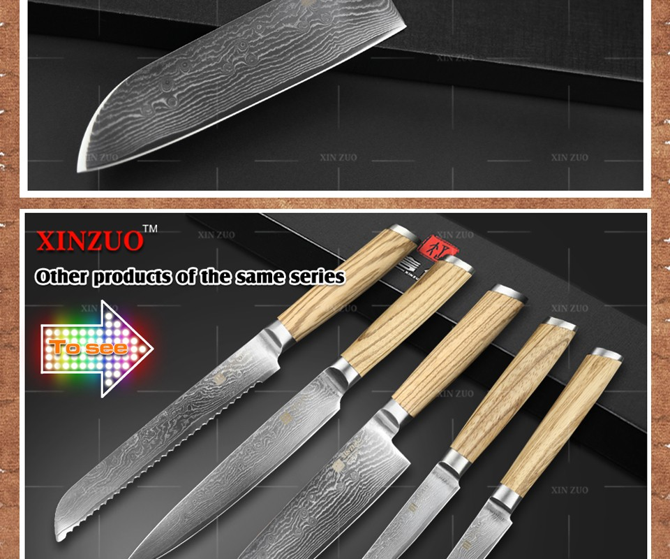 "Buy XINZUO 7"" inch Japanese chef knife Japanese Damascus Steel kitchen knife santoku knife kitchen tool logs handle free shipping cheap"