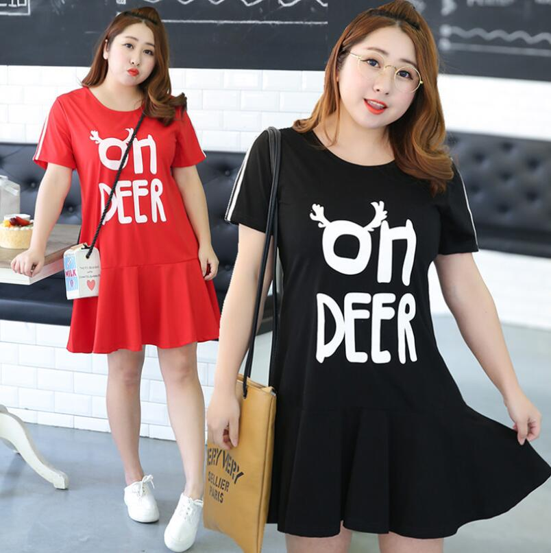 Pls buy it !High quality wome clothing black red summer dress printed cute DEER pattern short dress Fat MM dress plus size(China (Mainland))