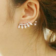 Vintage Elegant silver plated Leaf Crystal Ear stud earrings for women Cubic Zircon Diamond earring jewelry (China (Mainland))