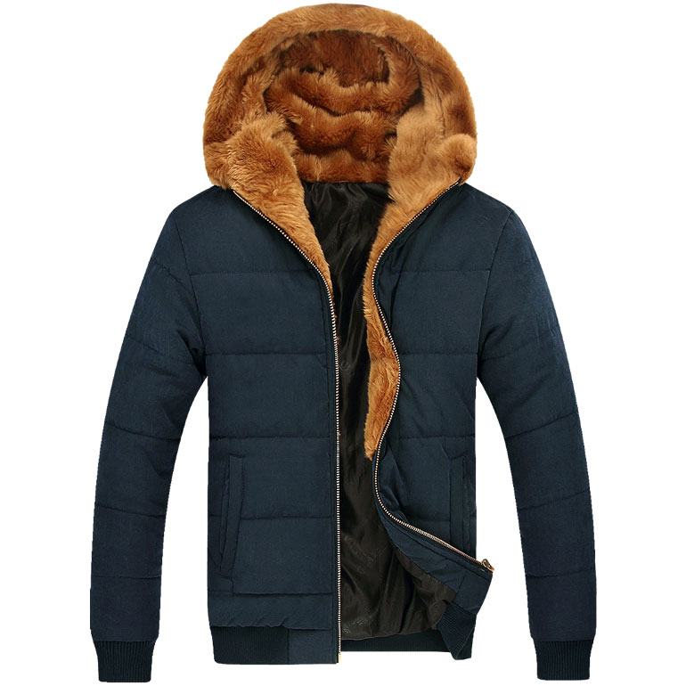 Russian Winter Men Thick Fur Coats 2014 Male Warm Outerwear Big Size M-3XL Zipper Fly Man Ourdoor Hooded Parka Khaki / Blue - Sophia apparel (China store Co., Ltd. More quantity more discount!)
