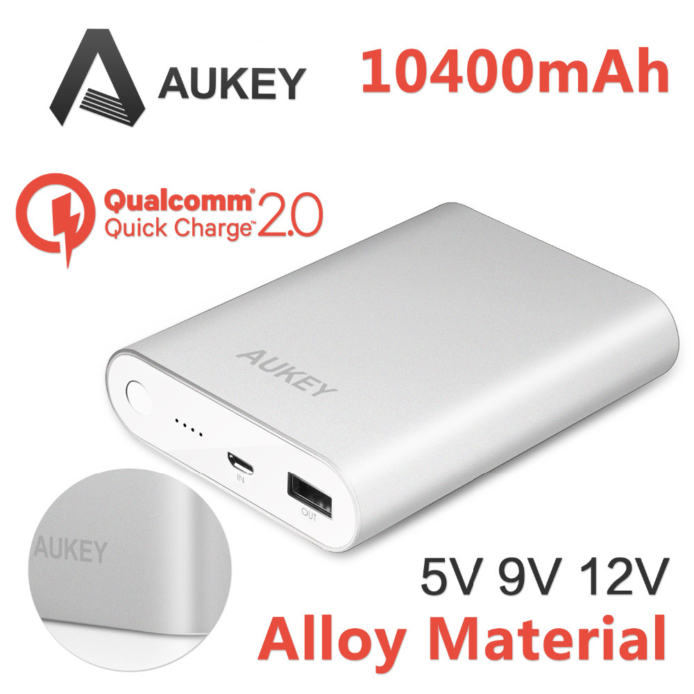 Aukey Qualcomm Quick Charge 2.0 10400mAh External Battery Battery Fast Charger Power bank (16.2W / 5V 9V 12V Supported) QC 2.0(China (Mainland))