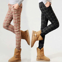 S-XXL Women Winter Pants 2015 Women Autumn Plaid Casual Pants Fashion Slim Plus Bootcut Pencil Legging Pants Trousers Black Red(China (Mainland))
