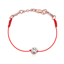 Austrian Crystals jewelry thin red thread string rope Charm Bracelets & bangles for women Fashion  New sale Top Hot summer style(China (Mainland))