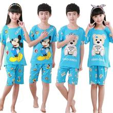 2016 new children's summer cotton short-sleeved pajamas boys girls cartoon pattern pajamas tracksuit