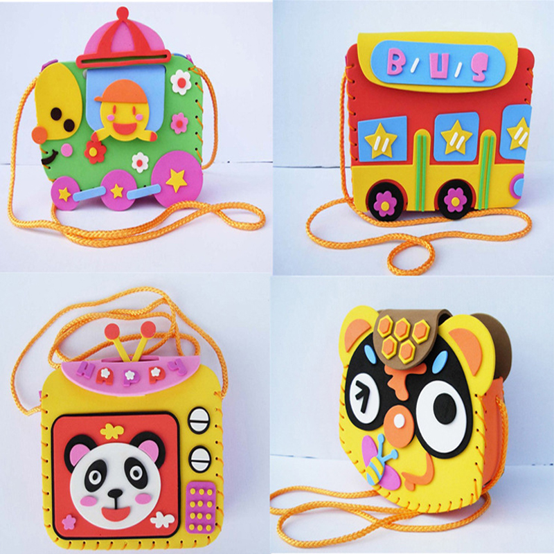 Multicolor Kids DIY Hand-made Paste Backpack Model Building Kits Educational Toys DIY Assembling Classic Toy(China (Mainland))